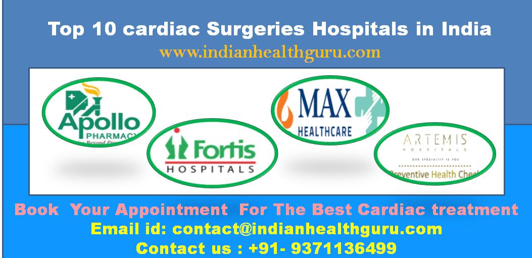 Top 10 cardiac Surgeries Hospitals in India
